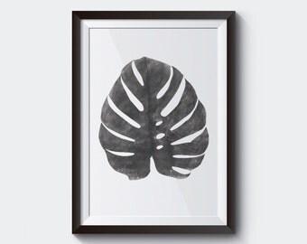 Monstera Leaf Print, Black & white, Modern Minimal Botanical Wall Art, Large Printable Poster, Digital Download.