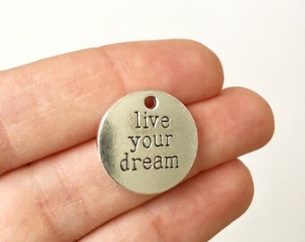 5 Live Your Dream Charms with Antique Silver Toned Finish - SC1501