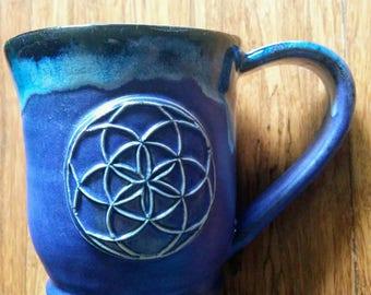 handmade ceramic mug matte purple seed of life mug, large 22 ounce mug for coffee or tea,  #115