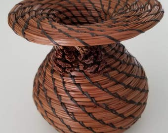 Pine Needle Vase Basket - Dark Brown hand sewn vessel with 2 pine cones as decor - Gift - Hand Made in FL USA - 50.00