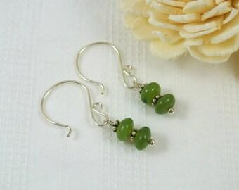 Nephrite Jade Gemstone Sterling Silver Earrings
