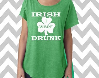 Irish I Were Drunk St. Patrick's Day Tee Dolman Off the shoulder flowy tee Funny Shamrock Tee Drinking Shirt Clover Shirt Pub Crawl