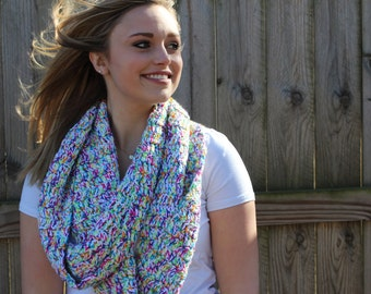Crochet Rainbow chunky scarf. SALE SALE SALE!!! Multi - Colored Neon Infinity Scarf. Free shipping. Cozy and fashionable. Perfect gift!