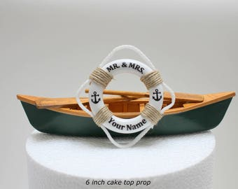 Canoe Wedding Cake Topper, Canoe Wedding, Rustic Wedding Cake Topper, Fishing Cake Topper, Boat Cake Topper, Mr & Mrs Cake Topper,Life Ring