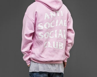 Custom Anti Social Club Pink Hooded Sweatshirt, Pablo Yeezus Life of Pablo Tour Merch, TLOP Pop Up Shop Style Pullover Sweater