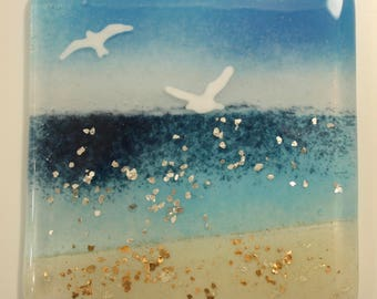 Seagull beach glass coaster