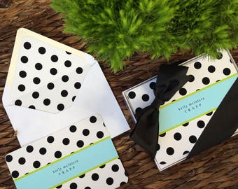 Black and White Polka Dot Flat Note Cards and Envelopes, Set of 12