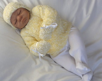 Lemon Baby Layette - Baby Cardigan, Hat & Mittens. Baby Gift Set.
