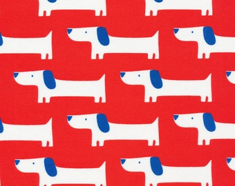 Red Rover dog print laminated cotton fabric - Cloud 9 100% organic