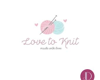 Logo design - Premade logo + Package - Business branding - Knitting logo