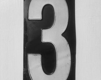 Vintage Metal Painted Number 3 From An American Gas Station,  House Number, Lucky Number, Favourite Number, Birthday