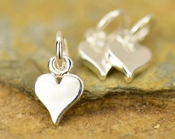 Sterling Silver Teeny Tiny Love Heart Charm Necklace 925