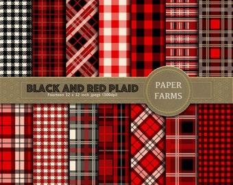 Red and black plaid digital paper, lumberjack plaid digital paper, buffalo plaid digital paper, red and black, tartan, gingham