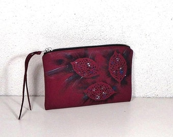 Leather purse, Raspberry purse, hand painted purse, pouch leather, coin purse, leather wallet, case for accessories