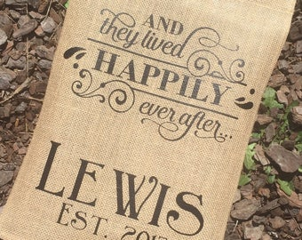 PERSONALIZED GARDEN FLAG - Burlap Garden Flag - And They Lived Happily Ever After - New Home - Just Married - Monogram Garden Flag