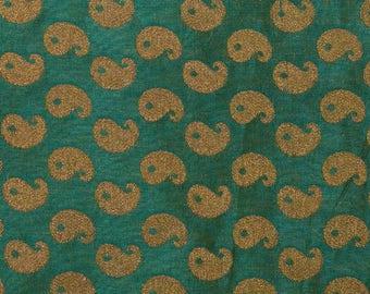 Half Yard of Dark Green and Golden Paisley Pattern Brocade Silk Fabric, Brocade Silk Fabric, Indian Brocade Silk