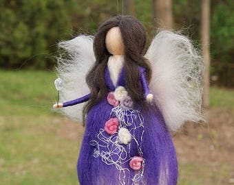 Wool needle felted fairy Waldorf fairy felted doll Waldorf Inspired Wool Fairy Ecofriendly Nursery Decor