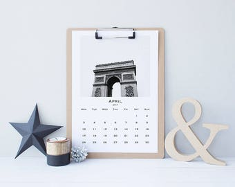 SALE! 2017 Wall Calendar Printable, Monthly Calendar, Instant Download, 8.5 x 11in. Sun Start or A4 Mon Start - Paris in Black and White