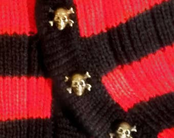 Knit Leg Warmers with Skull Buttons - Black and Red Stripes
