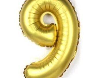 32 Inch Gold Number Balloon, 9 Balloon, Nine Balloon, Large Balloon, Giant Balloon, Number Balloon, Party Balloon, Birthday Balloon