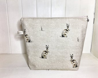 Hare project bag, Knitting project bag, pouch bag, Craft storage, Hare print, Cosmetics bag, Rabbit project bag