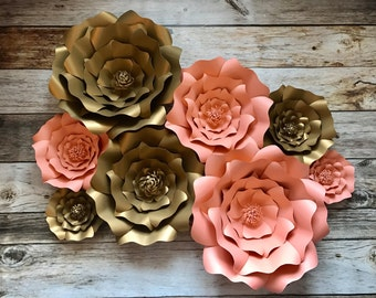 Paper flowers, salmon and gold, wedding, backdrop, photography backdrop, wedding shower, baby shower, decorations