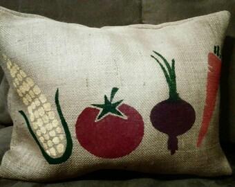 Burlap Pillow, Vegetable Pillow, Garden Pillow, Spring Pillow, Vegan Home Decor, Gardening, Garden Decor, Tomato, Corn, Carrot, Onion Decor