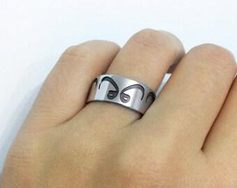 Vav Band Ring in Sterling Silver Metal, Vav Ring, Arabic Wedding Band Ring, Arabic Ring, Silver Wedding Band Ring, Vav Jewelry