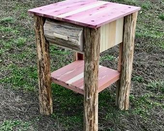 Cedar Night Stand, Cedar End Table, Side Table, Rustic Night Stand, Log Night Stand, Log End Table, Log Side Table, Rustic End Table, Red