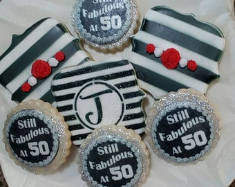Fabulous at 50 Birthday Cookies