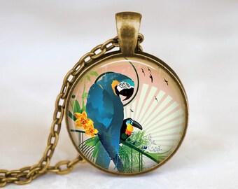 Blue Parrot Necklace Tropical Bird Necklace Tropical Parrot Jewelry, Blue Bird Necklace - Tropical Blue Jewelry - Exotic Bird Necklace Gift