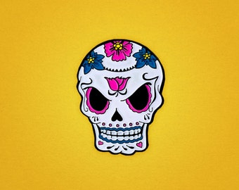 Angry Sugar Skull glow-in-the-dark Day of the Dead / Halloween enamel pin