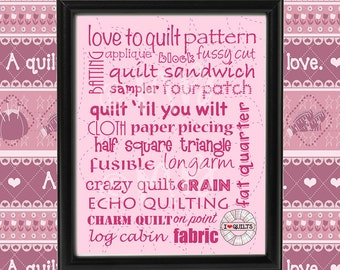 "Printable Quilt Subway Art, 8""x10"" (trim size) & 11""x17"", quilting terms, quilt sayings, mauve type - patterned background, digital download"