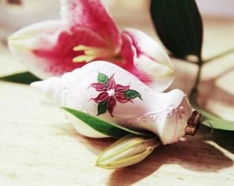Vintage Christmas Porcelain Flower Design Ornament