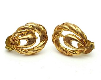 Miniature Intricate and detailed Cord Oval Gold tone Stud Earrings Vintage from the 90s Mini Tiny Cute girl's gift