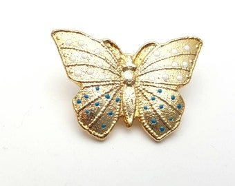 Gorgeous Butterfly with White and Teal Dots Pin Gold tone metal Vintage from the 90s Gift for her, daughter, friend Flying Wings Blush