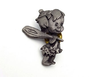 Bamm-Bamm Rubble Pewter Pin silver tone metal Vintage from the 80s Signed F.B. The Flintstones Son of Barney Hanna-Barbera Fred