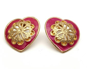Pink Enamel Heart with Gold Tone Filigree Centers Large Stud Earrings Vintage Gold Tone Metal from the 70s Anniversary retro look