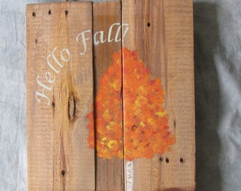 "Rustic ""Hello Fall"" Pallet Wood Sign"