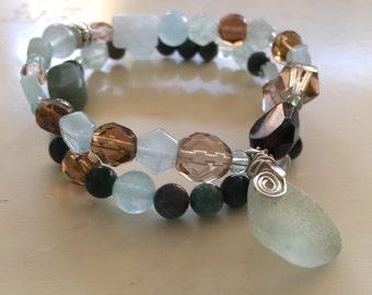 Stretch Bracelet Set Sea Glass Charm Bracelet Gemstone Bracelet Stacking Bracelet Beaded Bracelet Women's Gift