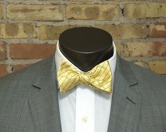 Gold Bar Silk Bow Tie
