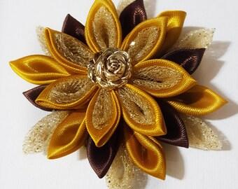 Kanzashi Flower, Christmas Hair Flower, Flower Hair Clip, Brown Flower Clip, Gold Hair Bow, Gold Hair Clip, Brown Hair Bow, Brown Hair Clip