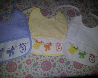 Baby bib with cross stitch Embroidery