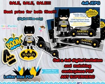 Batman invitations centerpieces party, Superheroes centerpiece boy girl decorations Birthday Party super digital decor supplies PERSONALIZED