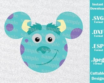INSTANT DOWNLOAD SVG Disney Inspired Sulley Monster Inc. Mickey Ears for Cutting Machines Svg, Esp, Dxf and Jpeg Format Cricut Silhouette