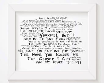 Noir Paranoiac MORRISSEY Art Print Typography Lyrics Poster - Signed & Numbered Limited Edition Unframed 10x8 Inch Album Wall Art Poster