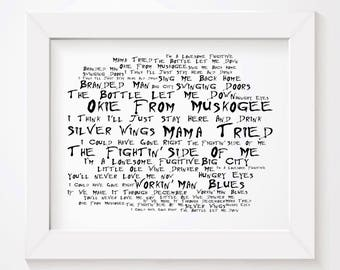 noir paranoiac merle haggard art print typography lyrics poster signed numbered limited edition unframed