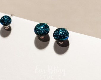 8mm Dark Teal/Blue Dichroic Glass Invisible Clip On Earrings