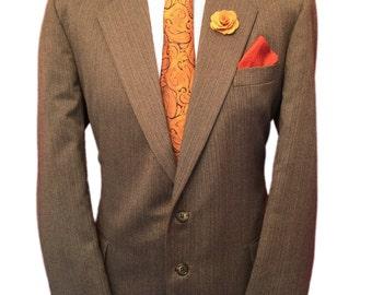 St Michael 44 Regular Superb Vintage Suit,Fawn Finestripe,Wool Blend,Waist 38 Leg 31