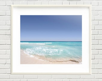 Tropical beach photo, ocean, sea, sand, waves, sky printable photo, beach print - office wall art, home wall decor - instant download